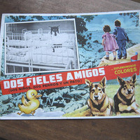 Vintage Mexican Cinema Lobby/Window Card DOS FIELES AMIGOS: 2 Ninos, 2 Perros & Un Pato; Retro Movie/Children's Fantasy Kitsch Poster