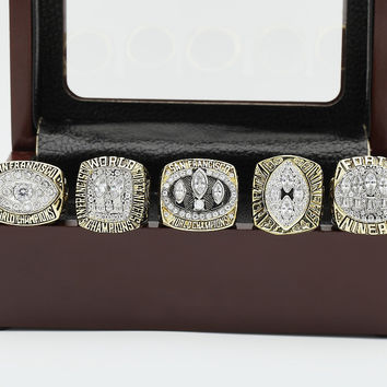 (FREE SHIPPING) 1981/1984/1988/1989/1994 REPLICA SAN FRANCISCO SUPERBOWL CHAMPIONSHIP RINGS