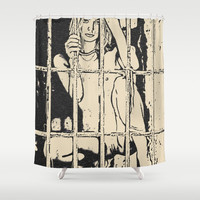 BDSM slave erotic, naked blonde captive in dungeon, fetish adult artwork, sexy girl nude Shower Curtain by Casemiro Arts - Peter Reiss