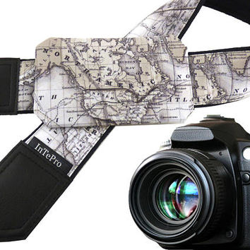 Pocket camera strap. Creamy map camera strap. North America map. Europe map. Personalized gifts for him, her. Gifts for moms. Get personal.