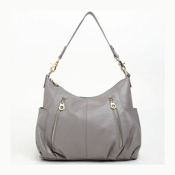 Stylish Front Zip Grey Leather Shoulder Bag. Genuine Leather Gray Handbag. MADE-TO-ORDER