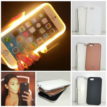 Fashion New Luxury Luminous Phone Cover LED Light Selfie Phone Case for iPhone 7 7 Plus 5 5S SE 6 6S 6 Plus 6splus+ Free Gift Box