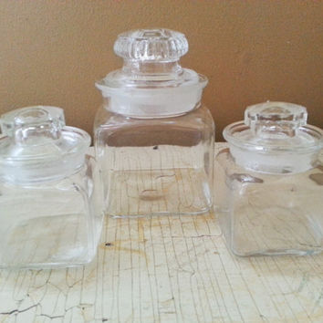 Mini Square Apothecary Jars Ground Glass Lids Set of Three