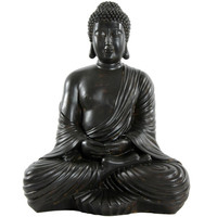 Oriental Furniture STA-BUD3 Large Japanese Sitting Buddha Statue, Width - 13 Inches