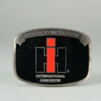International Harvester Logo Farming Is Our Business Black Belt Buckle