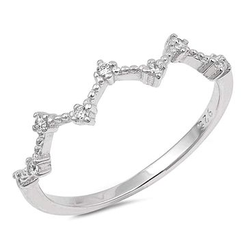Feminine Sterling Silver Wave and Dot Cubic Zirconia Curved Ring