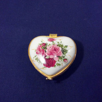 Vintage Trinket Box - Heart Shaped Trinket Box Decorated with Roses - Ring Box - Jewelry Box - Victorian, French, Cottage or Shabby Chic