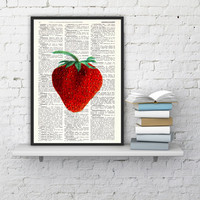 Strawberry Wall decor, giclee art print, Kitchen Wall art Simple strawberry- Book print Red strawberry Printed on Vintage Dictionary page