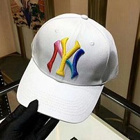 NY Summer Women Men Embroidery Sports Sun Hat Baseball Cap Hat White