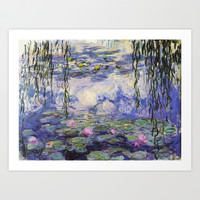 1916 Waterlily on canvas, Claude Monet. Beautiful vintage floral oil painting.  Art Print by ArtsCollection