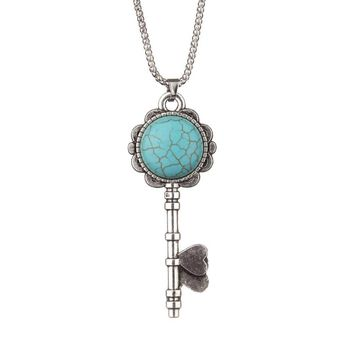 Turquoise Necklace Long Strip Key Pendants   Silver Plated
