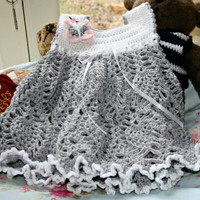 Crochet little girls dress crochetyknitsnbits hand made girl clothes Toddler dress lacy party dress silver grey & white baby 12 to 24 months