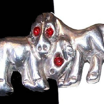 "Horses Donkey Brooch Signed Mexico Sterling Silver Red Rhinestones 1 3/4"" Vintage 1960s"