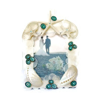 Beach Wedding Gift Seashell Frame -5 x 7  Capiz and Abalone Shell Frame