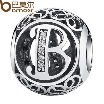 Authentic 925 Sterling Silver Vintage Letter B Beads Charms Fit Bracelets & Necklace With Clear CZ PSC008-B