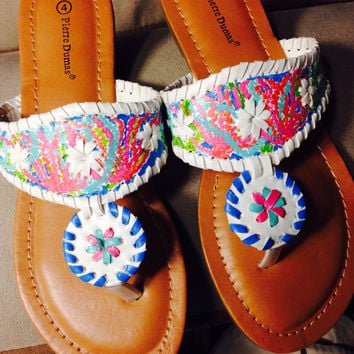 "Lilly Pulitzer Inspired Hand-Painted Jack Rogers Look-Alikes in ""Let's Cha Cha"""