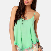 Take a Chance Mint Green Lace Tank Top