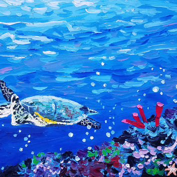 Original Palette Knife Painting, Sea Turtle Underwater by Ryan Kimba, Marine Life, Fine Art on Canvas, Impressionistic, Textured Painting