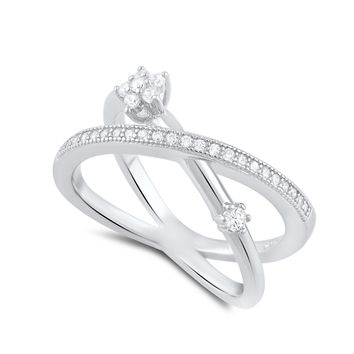Sterling Silver Simulated Diamond Criss Cross X Flower Ring