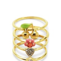Gold Set Of 4 Rings by Juicy Couture, O/S