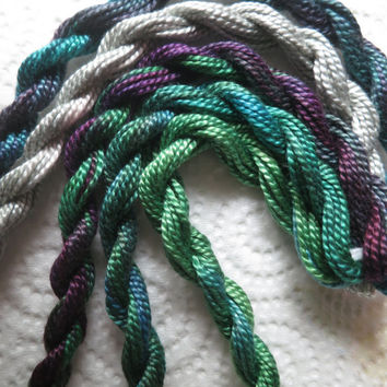Green, Deep Purple, Medium Perle Thread Collection, Only one available,