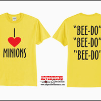 "Adult ""I (Heart) Minions"" Yellow Despicable Me T-Shirt"