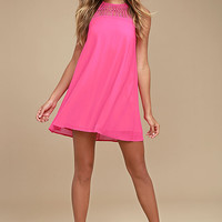 Tell Me Fuchsia Swing Dress