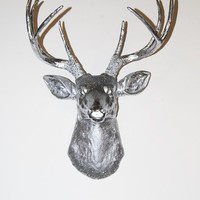 Deer Head - The Hollywood - Chrome Resin Deer Head- Stag Resin Chrome Faux Taxidermy- Chic & Trendy