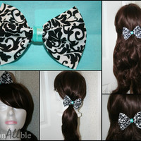 Black white and tiffany blue damask clip on hair bow
