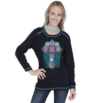 Scully Womens Black Knit Studded Embroidered Floral Cross Top