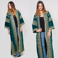 Vintage 70s Velvet TRIBAL Jacket Emerald Green Long EMBROIDERED Coat Gypsy Coat Ethnic Caftan Jacket
