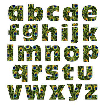Alphabet Letters Lowercase Peacock Print Animals MAG-NEATO'S TM Refrigerator Magnet Set