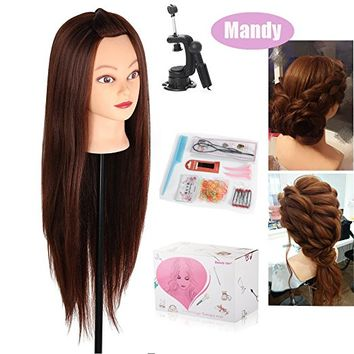 "Beautystar 29"" Long Hair Yaki Synthetic Cosmetology Mannequin Manikin Training Head Model with Clamp and Gifts"
