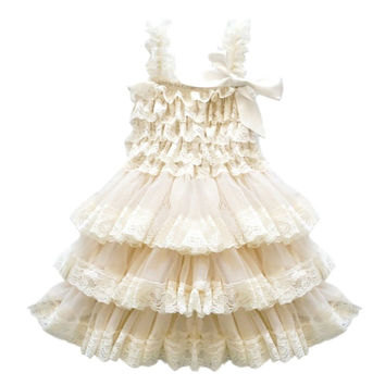 CVERRE lace flower rustic Burlap girl baby country wedding dress Champagne