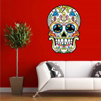 Full Color Wall Decal Mural Sticker Decor Art Beautyfull Cute Sugar Skull Bedroom Curly modern fashion (col603)
