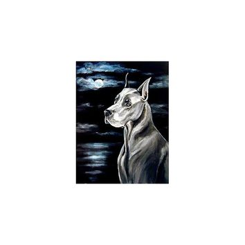 Caroline's Treasures Great Dane in the moonlight House Flag