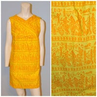 Vintage 1960's Midcentury Ed Volin Maternity Dress Tunic Yellow and Orange Egyptian Pattern Empire Waist with Bow Print Mod Mini Dress Shift