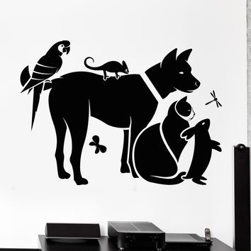 Vinyl Wall Decal Zoo Shop Animals Veterinary Clinic Veterinarian Stickers Unique Gift (714ig)
