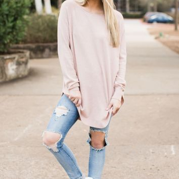 Up For Anything Blush Pink Sweater