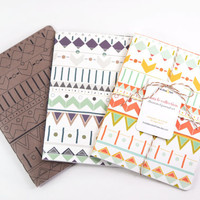 Illustrated Journal Set of 3: Santa Fe Collection, Large Hand Drawn Colorful Notebooks