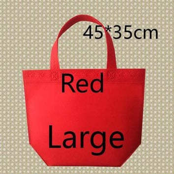35*45*10 Medium Size Eco Reusable Shopping Bags Random Cloth Fabric Grocery Packing Recyclable Bag Simple Design Tote Handbag