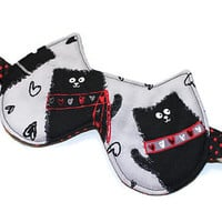 Sleep Mask, Eye Mask, Travel Mask, Travel Accessory, Cat Ears, Black Cat, Polka Dots, Red and Black, Spa Mask, Black, Cotton, Ready to Ship