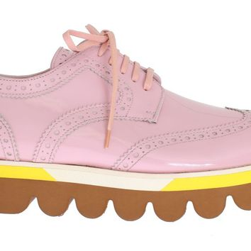 Dolce & Gabbana Pink Leather Wingtip Oxford Shoes