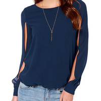 Dark Blue Cut-Out Long Cuff Sleeve with Back Keyhole Chiffon Blouse