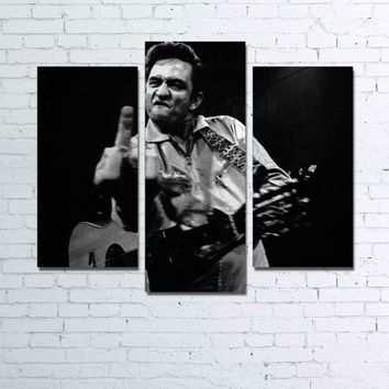 Johnny Cash Middle Finger 3 Pieces Panel Wall Art Canvas Panel Print 3 Panel
