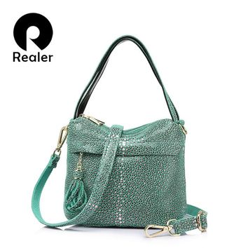REALER brand fashion women genuine leather handbag ladies double zipper hobos shoulder bag female Serpentine print messenger bag