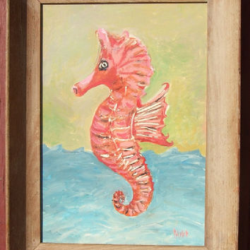 Large Seahorse Art - Original Framed Painting - Coral Pink, Green, Aqua Blue - Beach Cottage Nautical Theme Decor