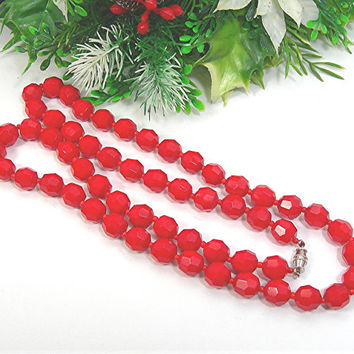 """Christmas Red Glass Beads Necklace, Faceted Glass Beads, 26"""" Long, Vintage 1950-60s Costume Jewelry"""