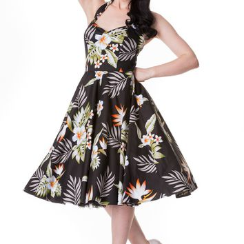 Hell Bunny Aloha Tropical Hawaiian Flower Print Alika Halter Dress hawaiian evening dresses
