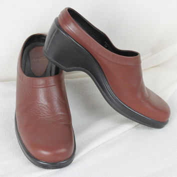 Dansko Brown Leather Clogs size 10.5 11 41 Womens Slip On Shoes